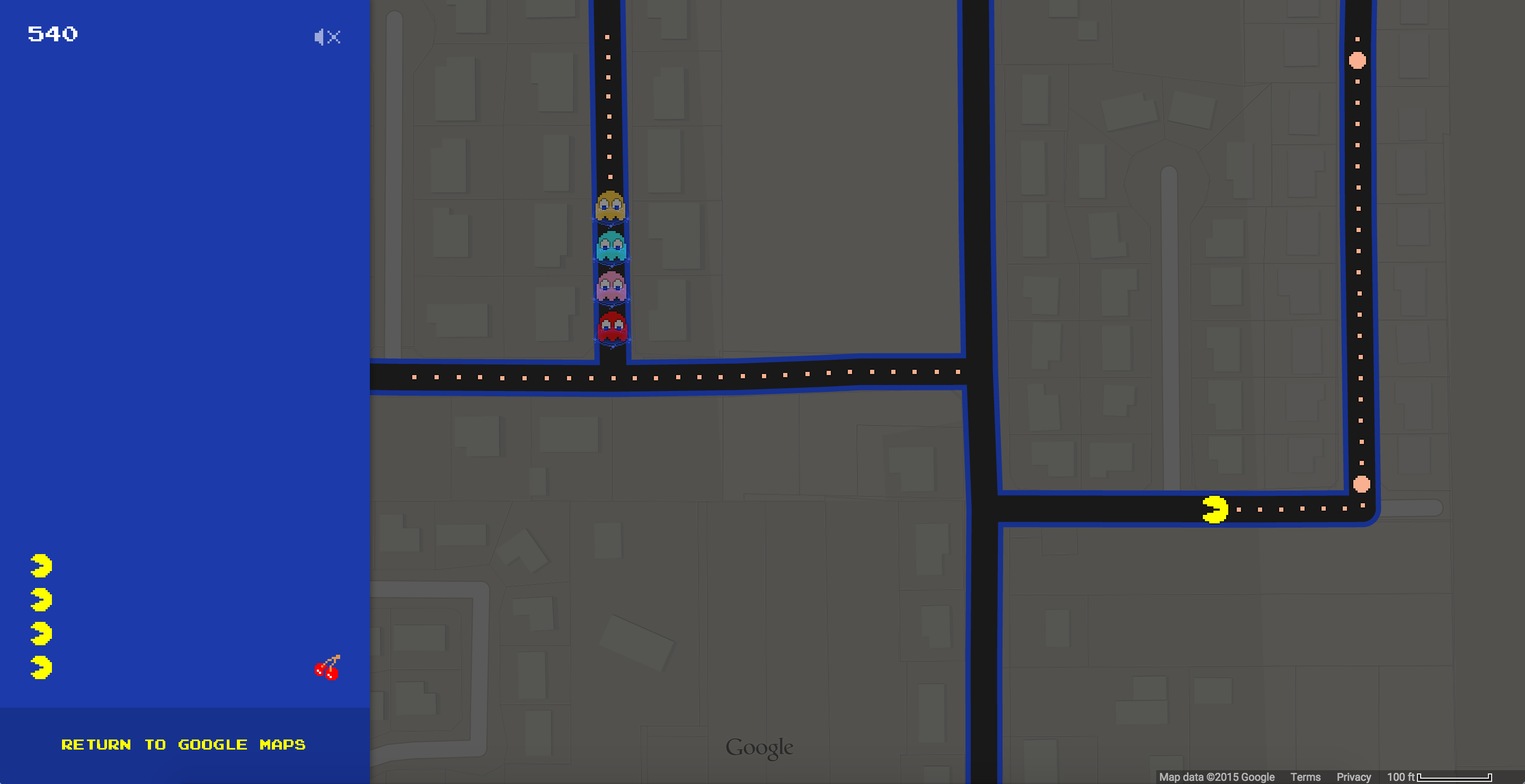 Google map's Pac Man